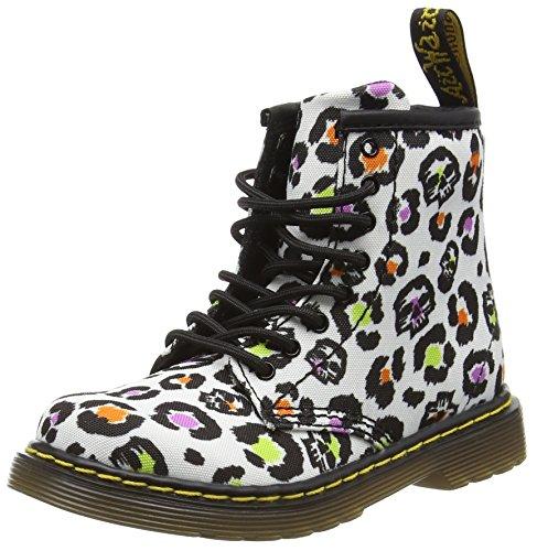 Dr. Martens  BROOKLEE T Canvas WHT SKLEOPAR, Chaussures bateau mixte enfant - Multicolore - Mehrfarbig (White Skleopard), 26