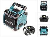 Makita DMR 200 10,8-18 V Baustellen Lautsprecher Grün Bluetooth + 1x BL 1850 18V - 5Ah Akku - ohne Ladegerät