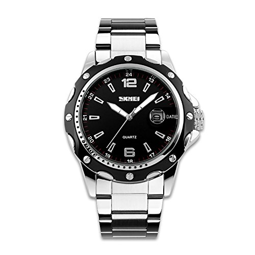 - 51XQKr7ccBL - Business Casual Watch Stainless Steel Band Dress Wrist Watch with Analog Quartz Black Convex Dial Calendar Fuction Design Stainless steel Durable Case 30M Water Resistant-Black