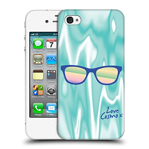 Official Cosmopolitan Mint Peach Cosmo Iridescence Hard Back Case for Apple iPhone X Blue Sunglasses