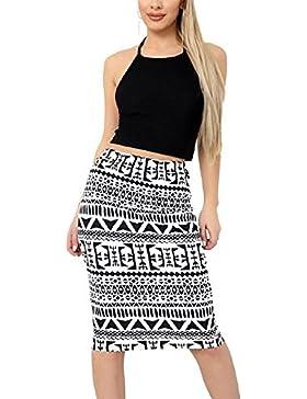Islander Fashions Womens Impreso Stretch Bodycon Midi Skirt Ladies Fancy Party Wear Lpiz falda S / 3XL