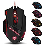 ZELOTES T90 Mouse da Gioco, ad Alta Precisione 9200 DPI Mouse Gaming con Design di 8 Pulsanti ,Cartucce di Peso Regolabile per PC Laptop Computer Notebook,Nero