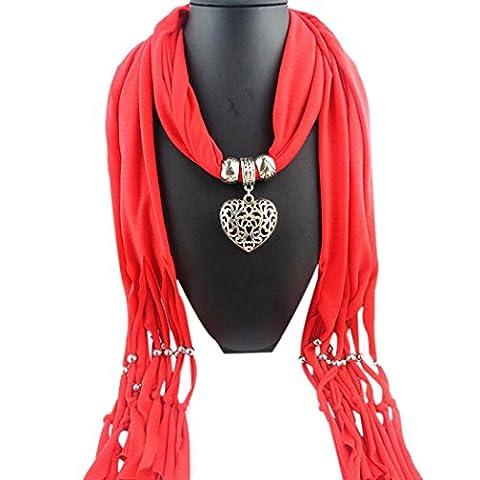 Damen Schal Herbst Winter Schals Quaste Pendant Schals+Schmuck 180X40cm (rot) (Einfache Bogen)
