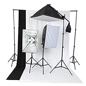 amzdeal kit d 39 clairage pour studio photo 1 support de fond 2 softbox bo te lumi re 2 toiles. Black Bedroom Furniture Sets. Home Design Ideas
