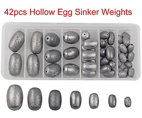 JSHANMEI 42Pcs/box Mixed Size Fishing Egg Sinker Weights Olive Egg Fishing Sinkers Hollow Casting Weight Sinkers Kit,Used for Catfish Carp Rigs,Fishing Hooks,Fishing Wire Leaders,Fishing Rigs