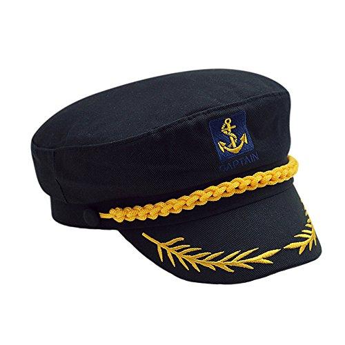 Imagen de cerrado  militares hombre mujer unisexo bordado admiral marinero capitán sombreros negro alternativa