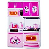 CLASTIK Beautiful Kitchen Play Set Minnie With Cook Top, Microwave, Griller, Dishwasher And Drawer Pink
