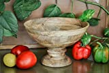 Homesake Vintage Wood Bowl with Stand-Natural Large 10""