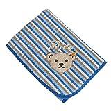 Steiff Babydecke Nicki mit Ihrem Wunsch Namen in der abgebildeten Stickschrift bestickt 90 cm x 60 cm blau creme braun geringelt Namensdecke wellneswear allure blue