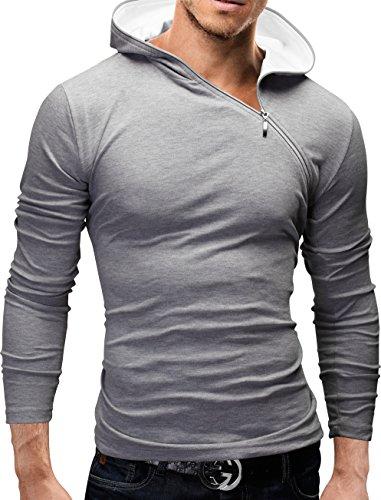 MERISH Langarm Shirt Herren Slim Fit Hoodie Modell 36 Grau