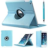 iPro Products Rotating 360 Degree PU Leather Case Cover for iPad 2/3/4 - LIGHT BLUE
