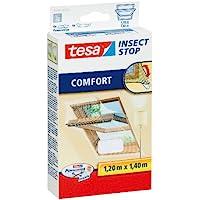 tesa Insect Stop COMFORT Fliegengitter für Dachfenster - Insektenschutz für Fenster - Fliegen Netz selbstklebend ohne Bohren - Weiß, 120 cm x 140 cm