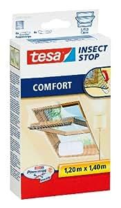 tesa Fliegengitter für Dachfenster, beste tesa Qualität, weiß, leichter Sichtschutz, 1,2m x 1,4m