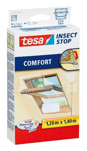 tesa Insect Stop COMFORT Fliegengitter für Dachfenster - Insektenschutz für Fenster -  Fliegen Netz selbstklebend ohne Bohren - weiß (leichter sichtschutz), 120 cm x 140 cm -