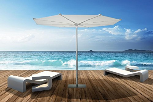 Parasol - Revo Rond 3m Acrylique Dralon 350g/m2 Blanc A7 + Pied en acier vernis gris - 35kg
