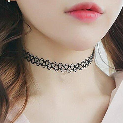 Generic Black Choker Halskette Frauen Halsband Klassische Gothic Tattoo Halsreifen Henna Halskette Fashion Punk für Mädchen Frauen von TheBigThumb