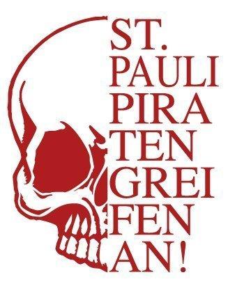 Aufkleber Applikation - Totenkopf Skull Schädel - St. Pauli Piraten greifen an ! - AP1707 - versch. Farben u. Größen Color rot, Größe 15cm