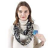 Hethrone Loop Schal für Damen Multifunktional Tuch schal mit versteckter Tasche Schlauchschal Rundschal Frühlingsschal Geschenkidee für Frauen (Leopard-Braun)