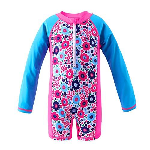 Floral 5'3 (Attraco Baby Mädchen Jungen Rash Vest UV-Einteiler Rash Guard Bademode UPF 50+ Gr. 0-6 Monate, Floral Blue)