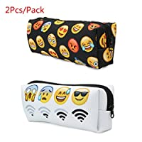 Pencil Case, Caveen 2Pcs/Pack Pen Bag Lovely Emoji Pencil Case Polyester Make-up Pouch Stationery Cosmetic Storage Bag - 7.48x2.16x2.36