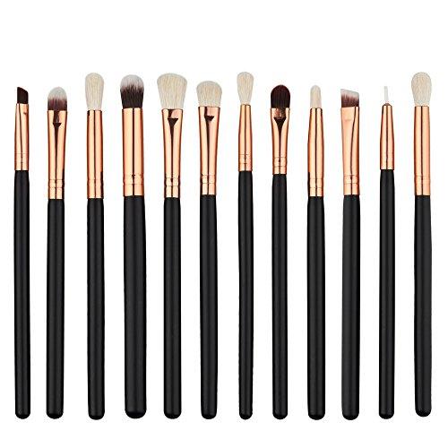 12pcs Pinceaux de Maquillage pour les Yeux Fixés Eyeliner Outils de Fard à Paupières de Mélange Crayon