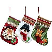 MMTX Weihnachten Deko, Weihnachtsstrumpf Set von 3 Bestickt Santa Claus Schneemann Rentier Mini Stiefel Tasche rot Plüsch Tartan Socke für Neujahr Süßigkeiten Geschenk präsentiert Baum Dekoration.