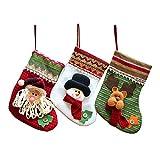 MMTX Weihnachtsstrumpf Set von 3 personalisierte bestickt Santa Claus Schneemann Rentier Mini Stiefel Tasche rot Plüsch Tartan Socke für Weihnachten Neujahr Süßigkeiten Geschenk Tasche präsentiert Baum Dekoration.