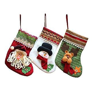 MMTX Juego de 3 Calcetines de Navidad Regalode Decoración Bordado de Santa Claus Muñeco Nieve Mini Botas Bolsillo Calcetín de Tartán de Felpa Roja Para Año de Dulces Presenta la Colgante del árbol.
