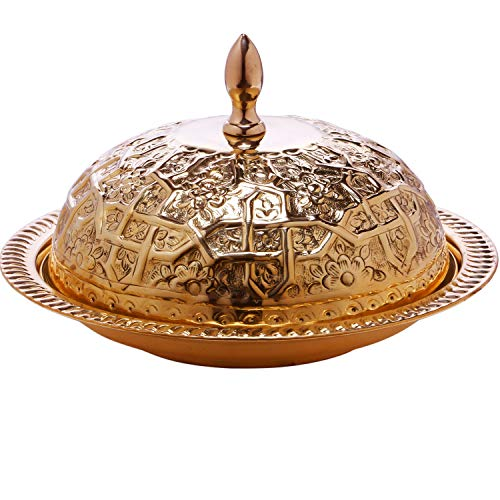 Gold-runde Glas-esstisch (Marokkanische Serviertajine aus MESSING Fassia 26cm groß Gold | Orientalische Hochzeitsdeko auf dem gedeckten Tisch | Serviertablett Rund mit Deckel als Speisehaube oder Käseglocke in Tajine Form)