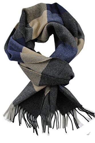 Rotfuchs® Webschal Herrenschal Winterschal Warm & weich Wolle Karo mehrfarbig Made in Germany (30 x 185 cm, blau weiß grau)