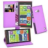 Cadorabo Hülle für Nokia Lumia 730 Hülle in Mangan Violett Handyhülle mit Kartenfach & Standfunktion Case Cover Schutzhülle Etui Tasche Book Klapp Style Mangan-Violett