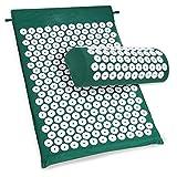 Buyi-World Akupressurmatte Massagematte zur Entspannung und Erleichterung der Kopf-Nackenschmerzen, Tasche + Matte + Kissen 66 x 41.5cm 2 Farb