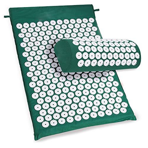 Buyi-world set tappetino di massaggio tappeto agopressione con cuscino per rilassare muscoli e massaggiare corpo e allentare + borsa (verde)