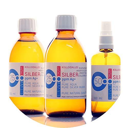 Kolloidales Silber PureSilverH2O - 600ml (2x 250ml/25ppm) + Spray (100ml/50ppm) Reinheit & Qualität seit 2012 (Stellen Sie Kolloidales Silber)
