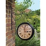 Home Sparkle Two-Sided Mild Steel Station Clock (25 cm x 7.5 cm x 37.5 cm, Black)