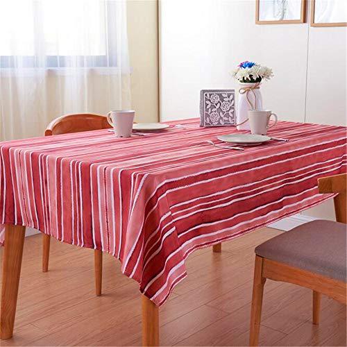 uch Wasserdicht Ölbeständige Tischdecke Polyester Rot Gestreift A 130x180cm ()