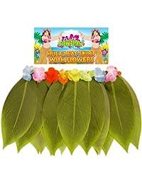 Hawaii Hula Fancy Dress Costume pour fille Jupe Herbe Fleur Guirlande Jupe Hula collier fleur (80 cm) - 40 cm Jupe Hula fleur hawaii Hula Paille soutien-gorge de sport élastiques au niveau des jambes