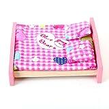 Sharplace Puppenhaus Schlafzimmer Möbel Satz - Doppelbett mit Kissen und Decke + Nachttisch + Nachttischlampe + Kleiderschrank