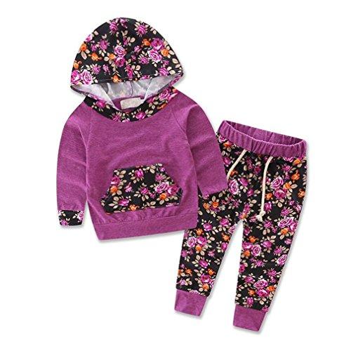 SAMGU Neonate vestiti infante appena nato Felpa con cappuccio di tops + pants che coprono insieme colore Viola