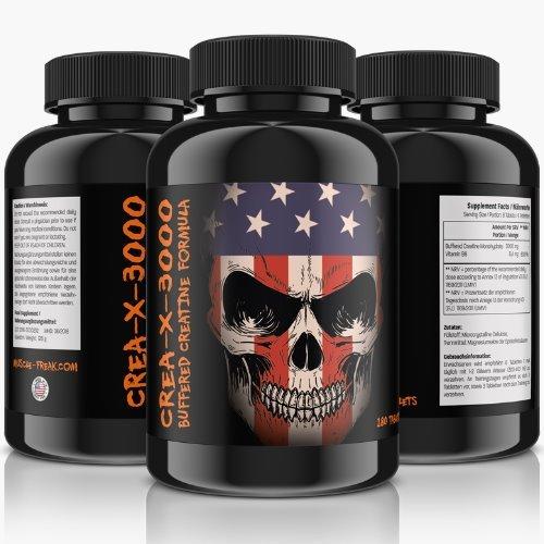 März-Sonderaktion: CREA-X-3000 Bufferd Creatine Formula - 300 Tabletten für 50 Tage Kur   Hochdosiert   (Creatine Alkalyn)   Hardcore Formel   solider und trockener Muskelaufbau + Ersatz für Steroide   Premium Qualität
