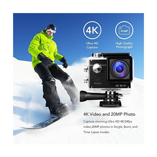 Victure Action Cam 4K Wifi fotocamera subacquea 16 MP Ultra HD Sport Camera  casco impermeabile per moto bicicletta equitazione con 2 batterie