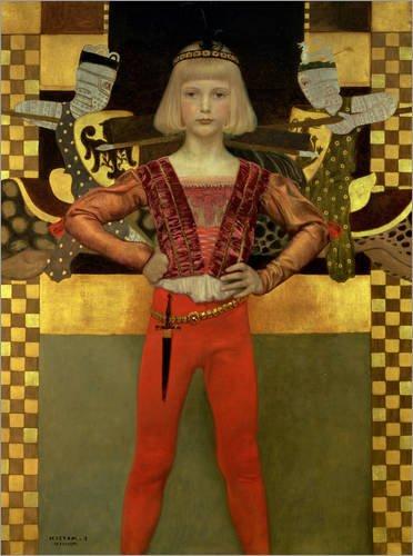 Posterlounge Hartschaumbild 90 x 120 cm: Junge in Mittelalter-Kostüm von Franz von Matsch/Bridgeman ()