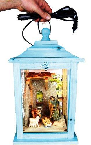 Weihnachtskrippe, mit Figuren, Laterne Holz, als Glasvitrine mit Beleuchtung, mit Glas und Holz - Rahmen, mit Holz - Deko KL-MFOS-BLAU blau hellblau