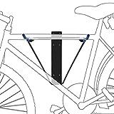 Relaxdays Fahrradhalterung, Für 2 Fahrräder, Fahrradhalter zur Wandmontage, Max. 50 kg, HBT 43,5 x 34 x 67 cm, schwarz/blau