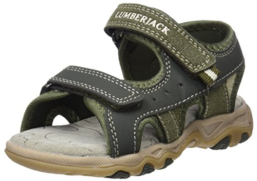 Lumberjack levi 011r61, sandali punta aperta bambino, verde (militarygreen), 36 eu