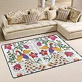 Jsteel Teppich, waschbar, weich, mexikanischer Pfau und Blumen, 90 x 60 cm, für Wohnzimmer, Schlafzimmer, Läufer, Multi, 180 x 120 cm
