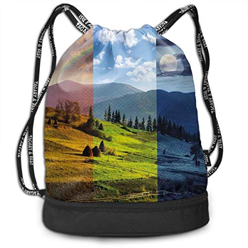 LULABE Printed Drawstring Backpacks Bags,Pastoral Village Rural Field with Rainbow Moon Sun Countryside Grassland,Adjustable String Closure