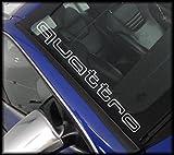 2x QUATTRO 55cm Windshield (Farbwahl) Decal Tuning Aufkleber Sticker Auto Motorrad Pick Up