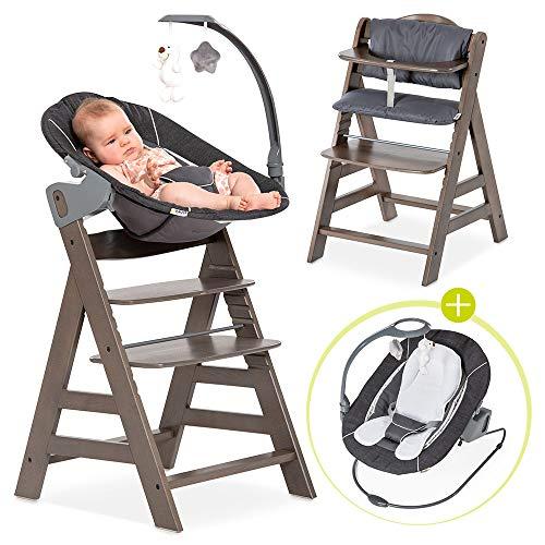 Hauck Alpha Plus Charcoal Newborn Set Deluxe - Baby Holz Hochstuhl ab Geburt mit Liegefunktion - inkl. Aufsatz für Neugeborene & Sitzpolster - mitwachsend, verstellbar