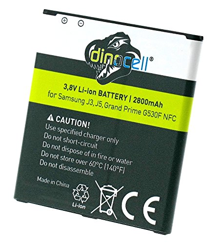 Dinocell® 2800mAh NFC Akku für original Samsung Galaxy J3 SM-J320F 2016, Galaxy J5 SM-J500FN J500F, Galaxy Grand Prime SM-G530F / G530FZ / G530H / SM-G531F / SM-G531H, ersetzt EB-BG530BBE, NEU mit NFC Technologie (NFC-CHIP)